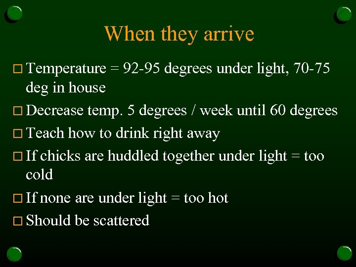 When they arrive o Temperature = 92 -95 degrees under light, 70 -75 deg
