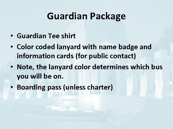 Guardian Package • Guardian Tee shirt • Color coded lanyard with name badge and