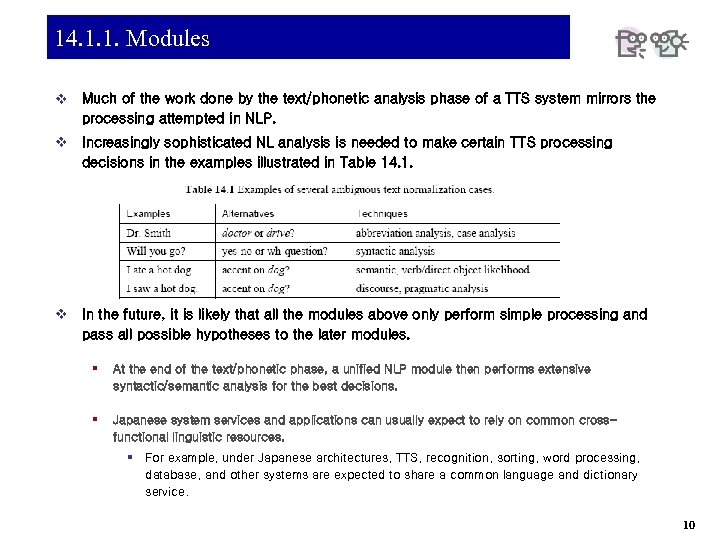 14. 1. 1. Modules v Much of the work done by the text/phonetic analysis