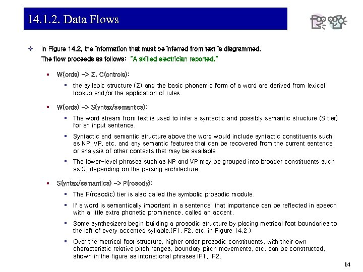 14. 1. 2. Data Flows v In Figure 14. 2, the information that must
