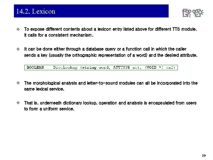 14. 2. Lexicon v To expose different contents about a lexicon entry listed above