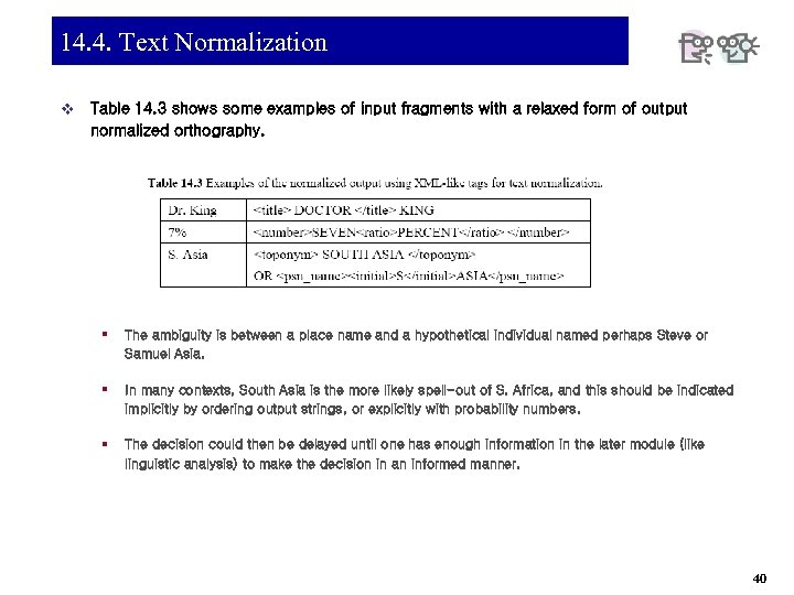 14. 4. Text Normalization v Table 14. 3 shows some examples of input fragments
