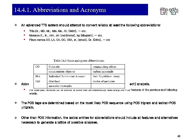 14. 4. 1. Abbreviations and Acronyms v An advanced TTS system should attempt to