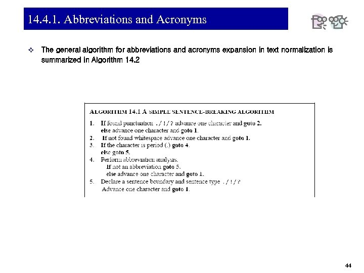14. 4. 1. Abbreviations and Acronyms v The general algorithm for abbreviations and acronyms