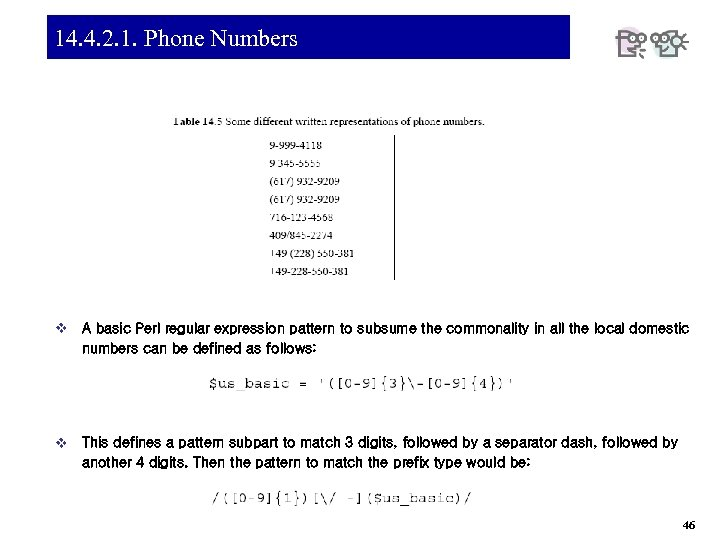 14. 4. 2. 1. Phone Numbers v A basic Perl regular expression pattern to