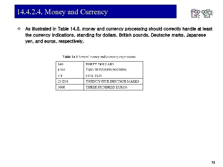 14. 4. 2. 4. Money and Currency v As illustrated in Table 14. 8,