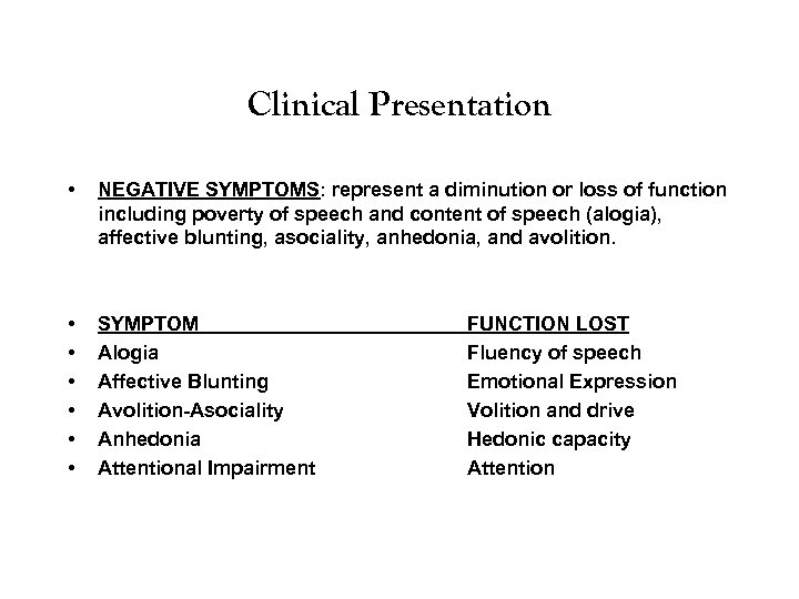 Clinical Presentation • NEGATIVE SYMPTOMS: represent a diminution or loss of function including poverty
