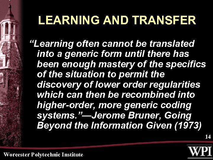 "LEARNING AND TRANSFER ""Learning often cannot be translated into a generic form until there"