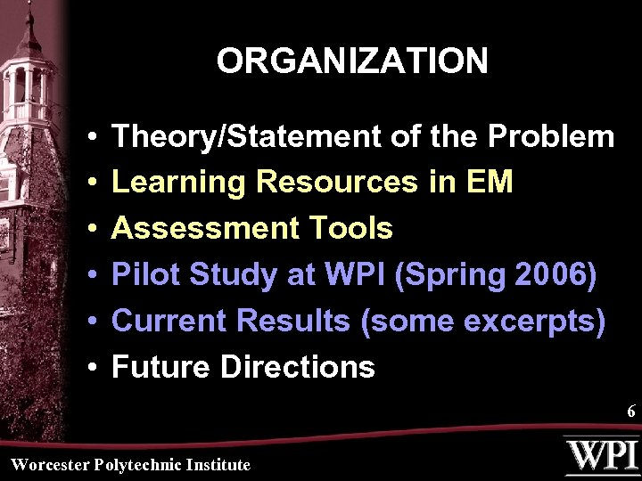 ORGANIZATION • • • Theory/Statement of the Problem Learning Resources in EM Assessment Tools