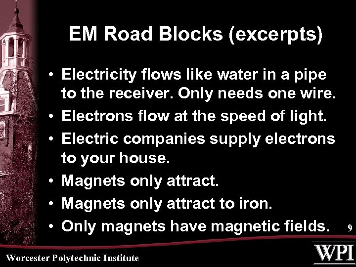 EM Road Blocks (excerpts) • Electricity flows like water in a pipe to the