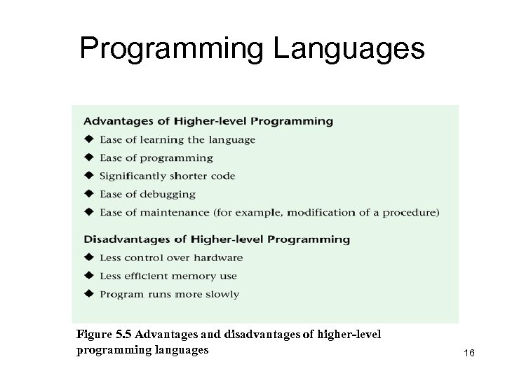 Programming Languages Figure 5. 5 Advantages and disadvantages of higher-level programming languages 16