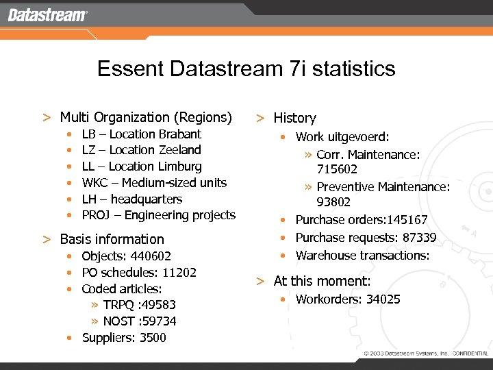 Essent Datastream 7 i statistics > Multi Organization (Regions) • • • LB –