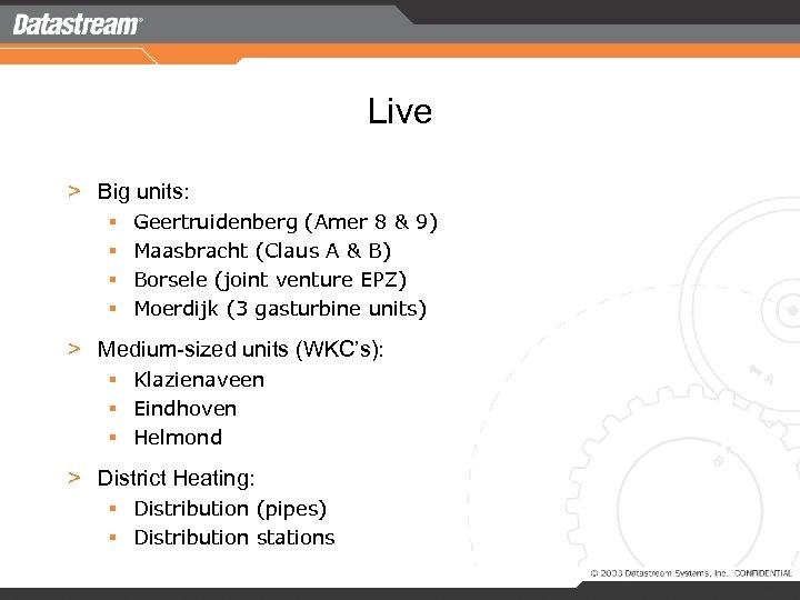 Live > Big units: § § Geertruidenberg (Amer 8 & 9) Maasbracht (Claus A