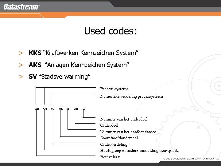 """Used codes: > KKS """"Kraftwerken Kennzeichen System"""" > AKS """"Anlagen Kennzeichen System"""" > SV"""