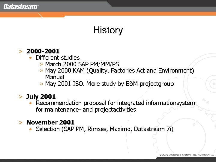 History > 2000 -2001 • Different studies » March 2000 SAP PM/MM/PS » May