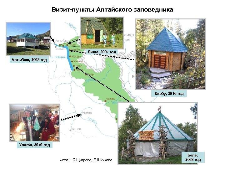 Визит-пункты Алтайского заповедника Яйлю, 2007 год Артыбаш, 2008 год Корбу, 2010 год Улаган, 2010