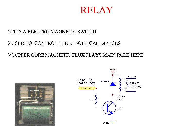 RELAY ØIT IS A ELECTRO MAGNETIC SWITCH ØUSED TO CONTROL THE ELECTRICAL DEVICES ØCOPPER