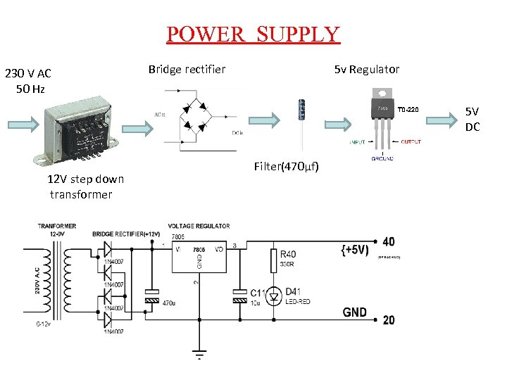 POWER SUPPLY 230 V AC 50 Hz Bridge rectifier 5 v Regulator 5 V