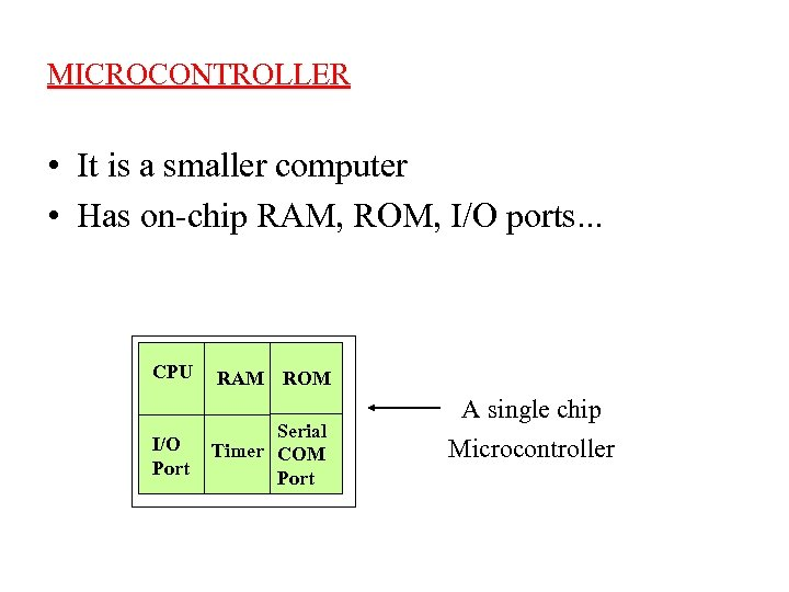 MICROCONTROLLER • It is a smaller computer • Has on-chip RAM, ROM, I/O ports.