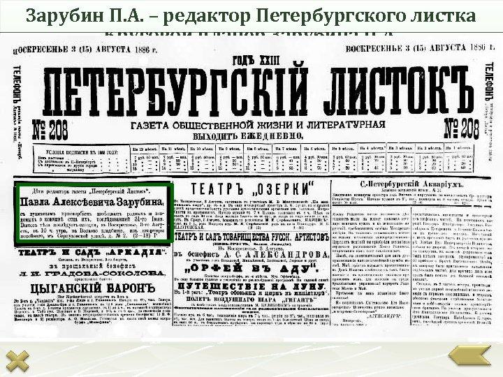 Зарубин П. А. – редактор Петербургского листка Круговой планер Зарубина П. А.