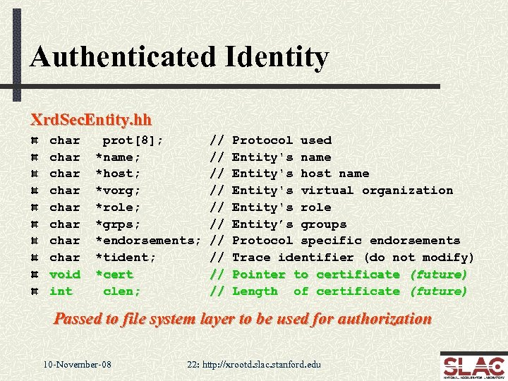 Authenticated Identity Xrd. Sec. Entity. hh char char void int prot[8]; *name; *host; *vorg;