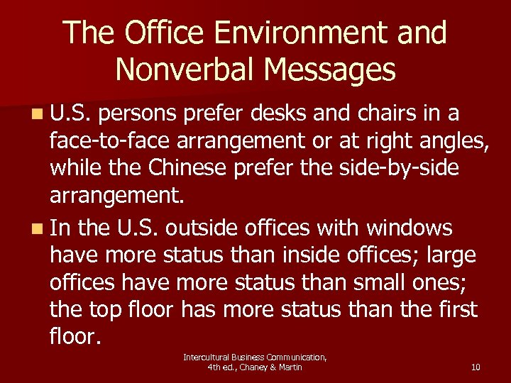 The Office Environment and Nonverbal Messages n U. S. persons prefer desks and chairs