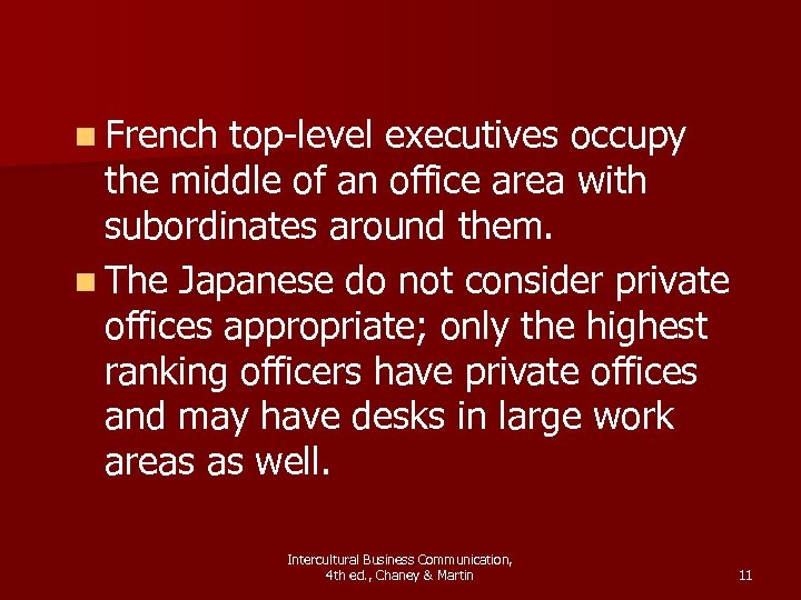 n French top-level executives occupy the middle of an office area with subordinates around