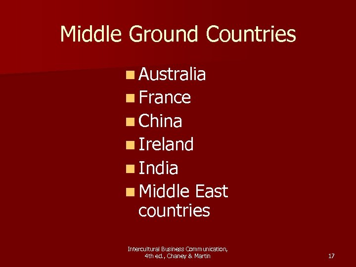 Middle Ground Countries n Australia n France n China n Ireland n India n
