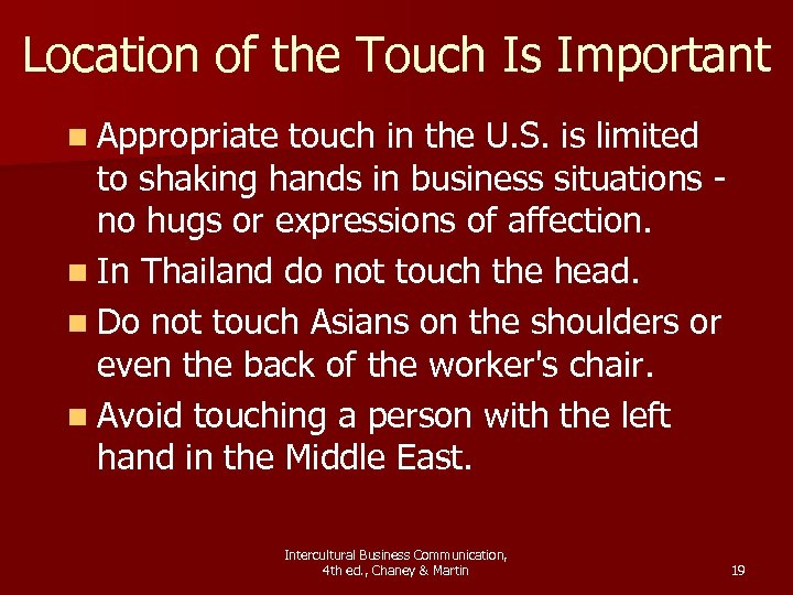 Location of the Touch Is Important n Appropriate touch in the U. S. is