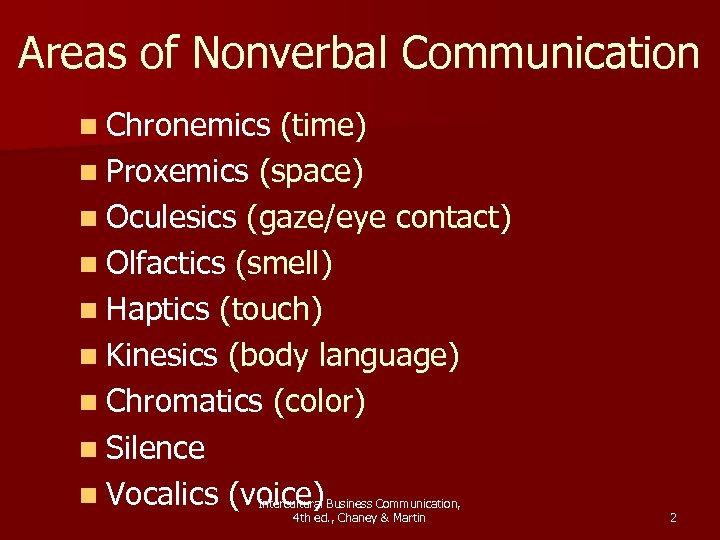 Areas of Nonverbal Communication n Chronemics (time) n Proxemics (space) n Oculesics (gaze/eye contact)