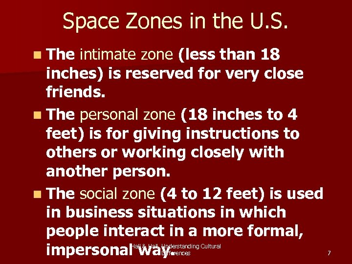 Space Zones in the U. S. n The intimate zone (less than 18 inches)