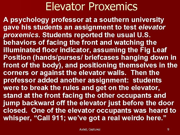 an example of proxemics 64 chapter 6 cross-cultural support for proxeymic variation those who judge the validity of hall's proxemic theory by the rigor and vigor of his reported research usually relegate it to the category of idle speculation.