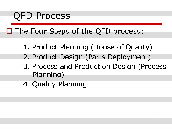 QFD Process o The Four Steps of the QFD process: 1. Product Planning (House