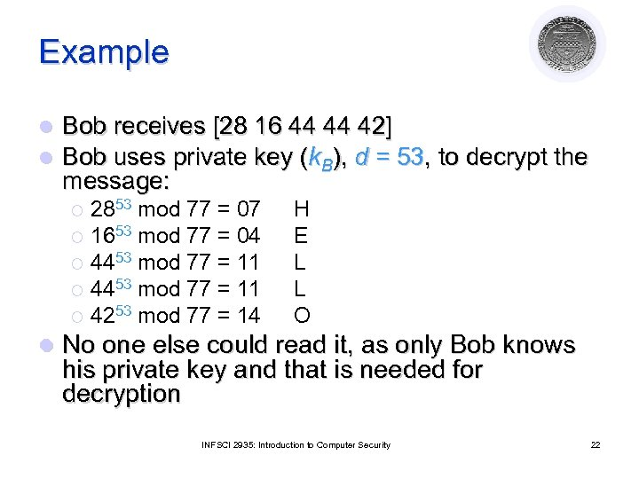Example l l Bob receives [28 16 44 44 42] Bob uses private key