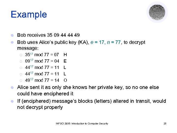 Example Bob receives 35 09 44 44 49 l Bob uses Alice's public key