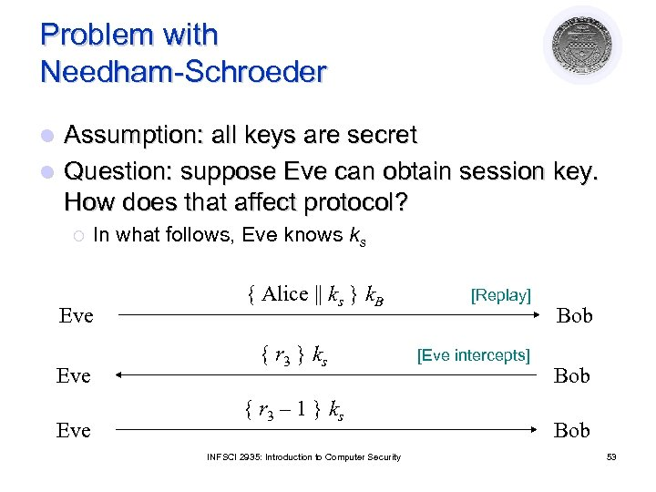 Problem with Needham-Schroeder Assumption: all keys are secret l Question: suppose Eve can obtain