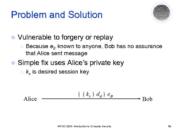 Problem and Solution l Vulnerable to forgery or replay ¡ l Because e. B