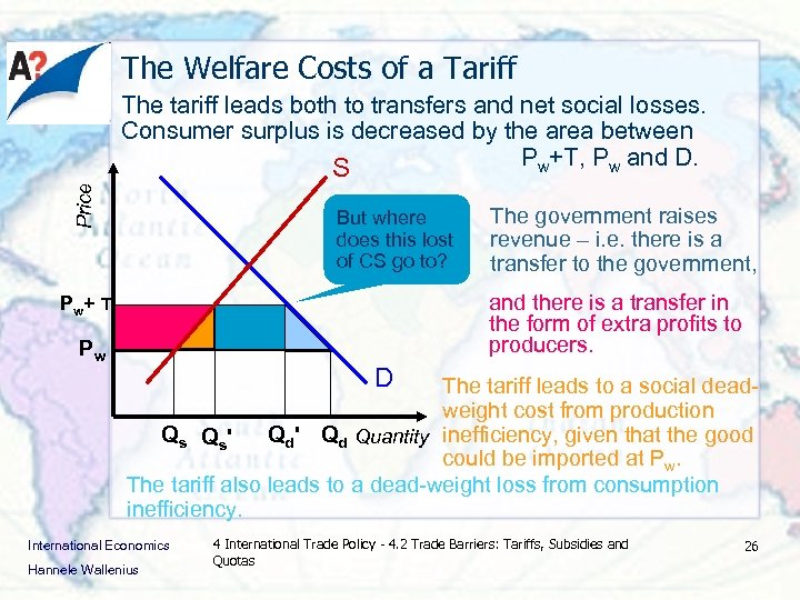 The Welfare Costs of a Tariff Price The tariff leads both to transfers and
