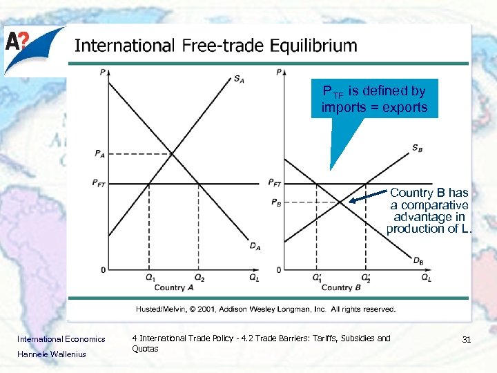 PTF is defined by imports = exports Country B has a comparative advantage in