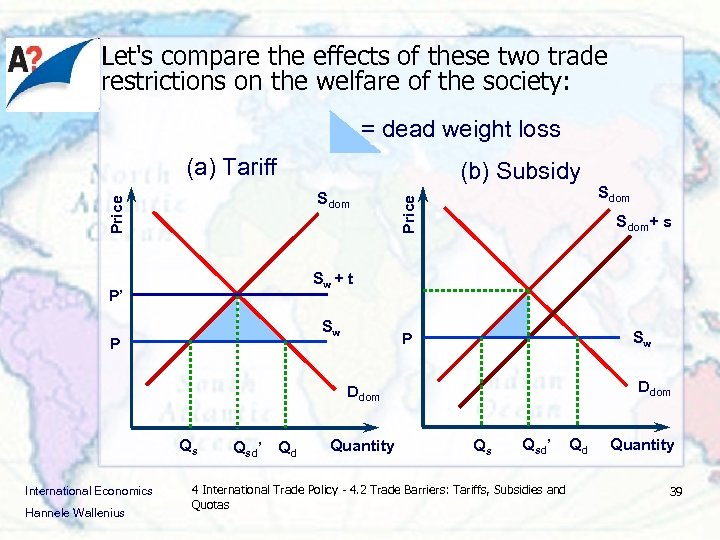 Let's compare the effects of these two trade restrictions on the welfare of the