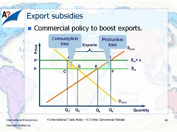 Export subsidies Commercial policy to boost exports. Price n Consumption loss Exports P B