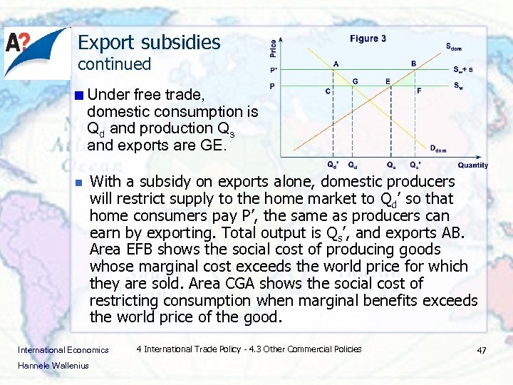 Export subsidies continued Under free trade, domestic consumption is Qd and production Qs and