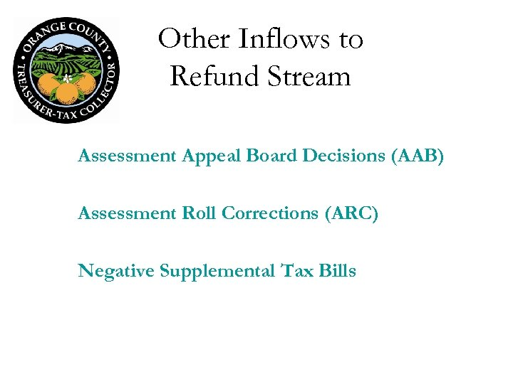 Other Inflows to Refund Stream Assessment Appeal Board Decisions (AAB) Assessment Roll Corrections (ARC)