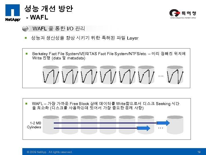 성능 개선 방안 - WAFL 을 통한 I/O 관리 ¡ 성능과 생산성을 향상 시키기