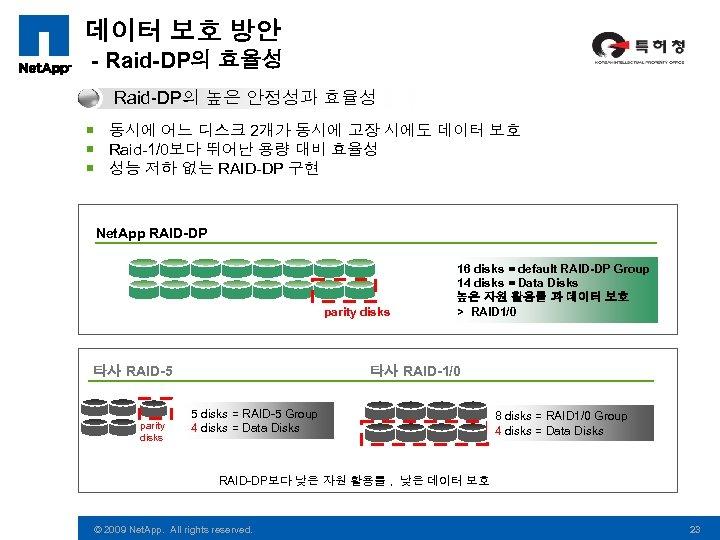 데이터 보호 방안 - Raid-DP의 효율성 Raid-DP의 높은 안정성과 효율성 ¡ 동시에 어느 디스크