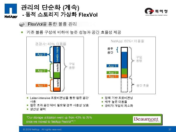 관리의 단순화 (계속) - 동적 스토리지 가상화 Flex. Vol을 통한 볼륨 관리 ¡ 기존