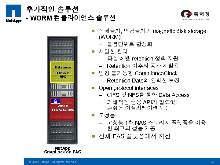 추가적인 솔루션 - WORM 컴플라이언스 솔루션 Databases 300 GB FC HDD WORM 1 TB