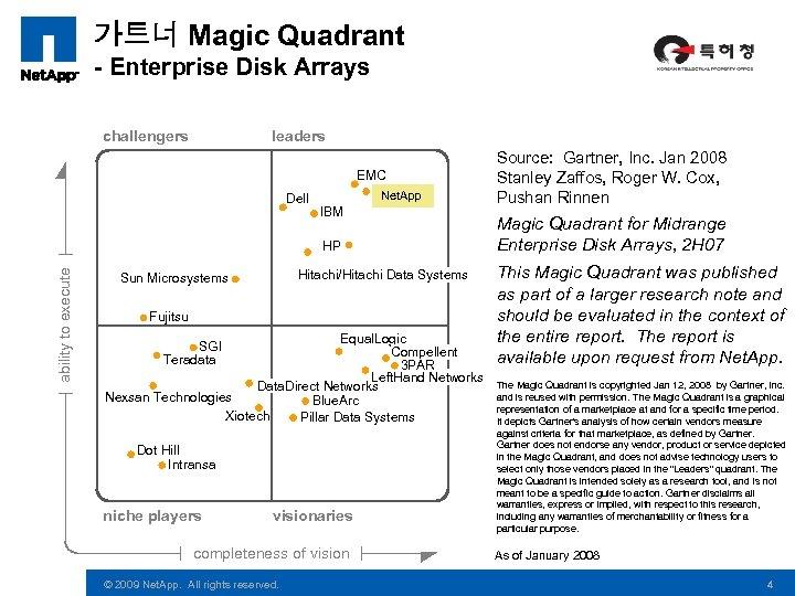 가트너 Magic Quadrant - Enterprise Disk Arrays challengers leaders EMC Dell Net. App IBM