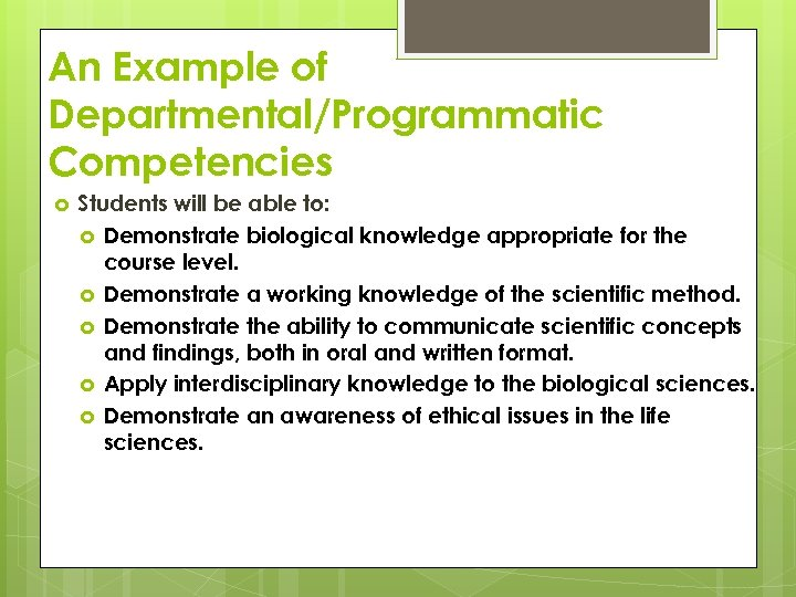 An Example of Departmental/Programmatic Competencies Students will be able to: Demonstrate biological knowledge appropriate