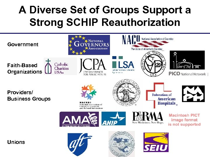 A Diverse Set of Groups Support a Strong SCHIP Reauthorization Government Faith-Based Organizations Providers/